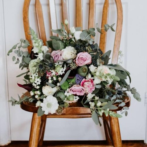 wedding flowers on a chair