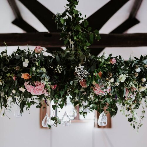 decorative wedding flowers from ceiling